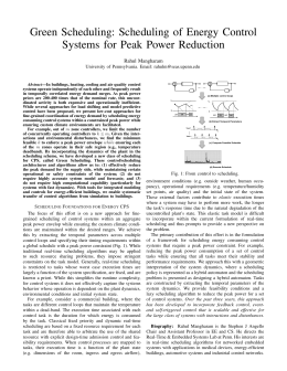 Green Scheduling: Scheduling of Energy Control Systems for Peak Power Reduction