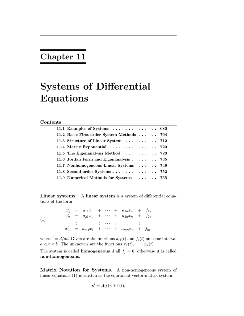 Systems of Differential Equations Chapter 11 Contents
