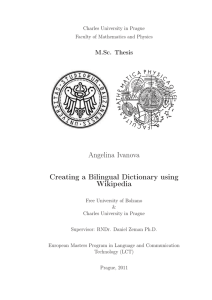 Angelina Ivanova Creating a Bilingual Dictionary using Wikipedia M.Sc. Thesis