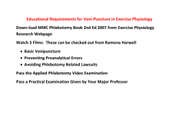 Educational Requirements for Veni-Puncture in Exercise Physiology Research Webpage