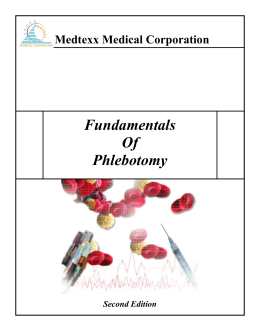 Fundamentals Of Phlebotomy Medtexx Medical Corporation