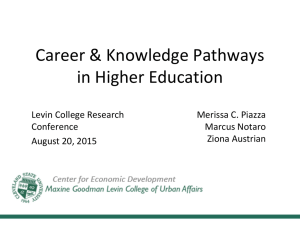 Career & Knowledge Pathways in Higher Education Levin College Research Merissa C. Piazza