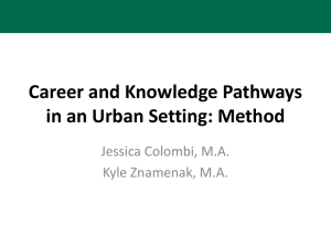 Career and Knowledge Pathways in an Urban Setting: Method Jessica Colombi, M.A.
