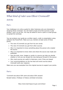 What kind of ruler was Oliver Cromwell? Activity Part 1