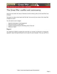 The Great War: conflict and controversy