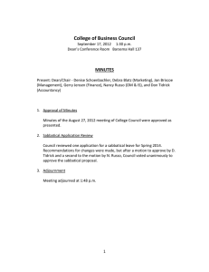 College of Business Council MINUTES