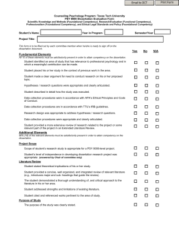Psychology dissertation checklist