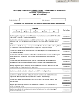 Qualifying Examination Individual Rater Evaluation Form  Case Study Speaker Evaluation Form