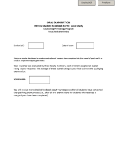 ORAL EXAMINATION INITIAL Student Feedback Form:  Case Study Counseling Psychology Program