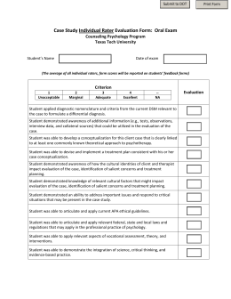 Case Study Individual Rater Evaluation Form:  Oral Exam