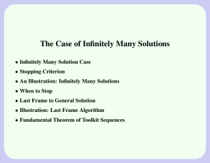 The Case of Infinitely Many Solutions