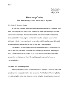 Hamming Codes The First Binary Data Verification System