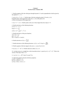 Calculus I Practice Exam 1, Summer 2002
