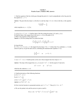 Calculus I Practice Exam 1, Summer 2002, Answers