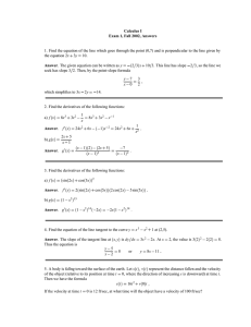 Calculus I Exam 1, Fall 2002, Answers