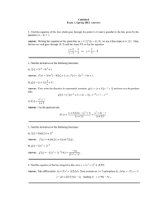 Calculus I Exam 1, Spring 2003, Answers