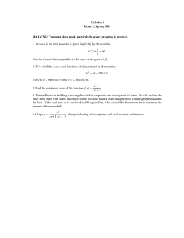 Calculus I Exam 2, Spring 2003
