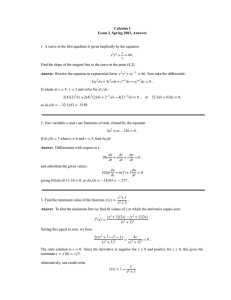 Calculus I Exam 2, Spring 2003, Answers 66