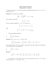 Math 1210-90 Calculus I Examination 3 Answers