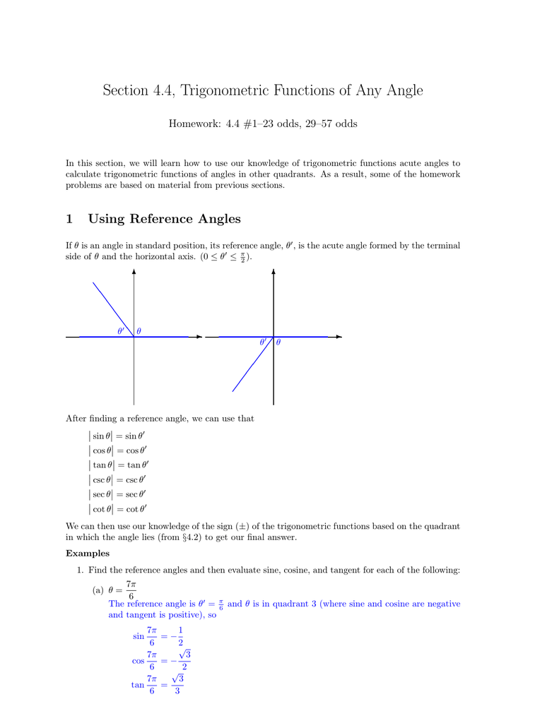 Section 4 4, Trigonometric Functions of Any Angle
