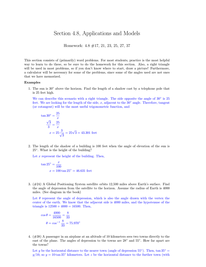 precalculus 4.8 homework applications and models