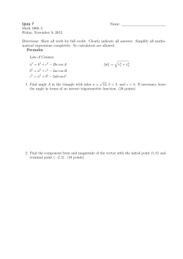 Quiz 7 Name: Math 1060–5 Friday, November 9, 2012