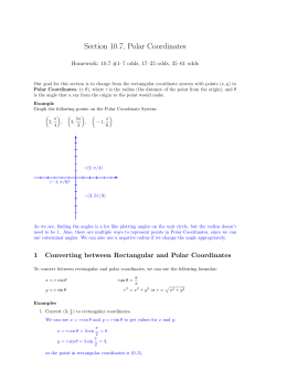 Section 10.7, Polar Coordinates