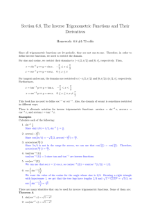 Section 6.8, The Inverse Trigonometric Functions and Their Derivatives