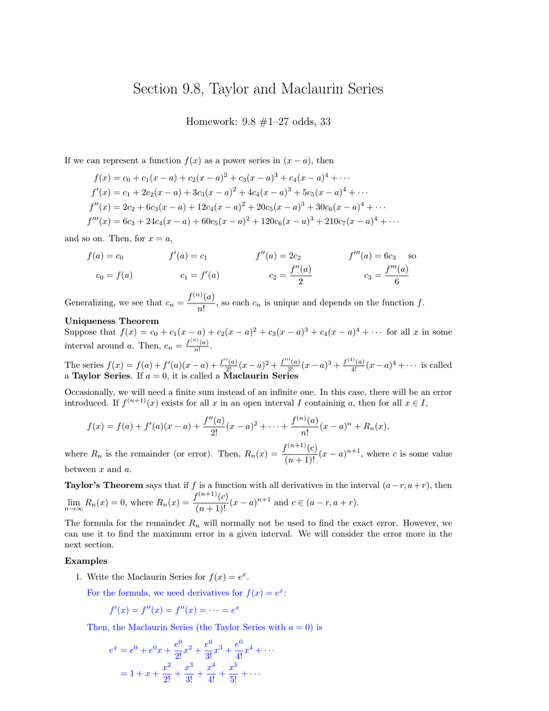 taylor and maclaurin series homework answers