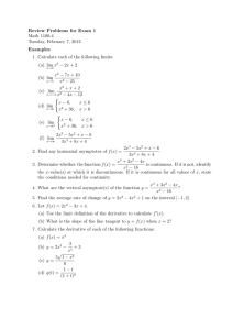 Review Problems for Exam 1 Math 1100-4 Tuesday, February 7, 2012 Examples
