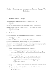Section 9.3, Average and Instantaneous Rates of Change: The Derivative 1