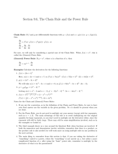 Section 9.6, The Chain Rule and the Power Rule