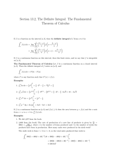 Section 13.2, The Definite Integral: The Fundamental Theorem of Calculus