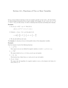 Section 14.1, Functions of Two or More Variables