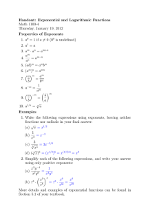 Handout: Exponential and Logarithmic Functions Math 1100-4 Thursday, January 19, 2012