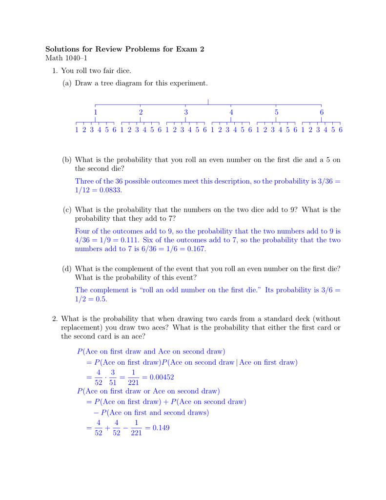Solutions for review problems for exam 2 math 10401 ccuart Gallery