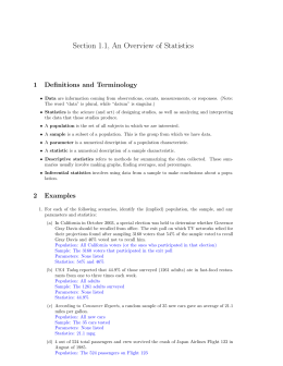 Section 1.1, An Overview of Statistics 1 Definitions and Terminology