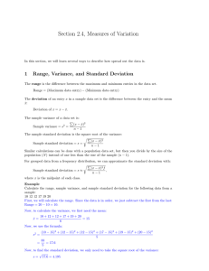Section 2.4, Measures of Variation 1 Range, Variance, and Standard Deviation