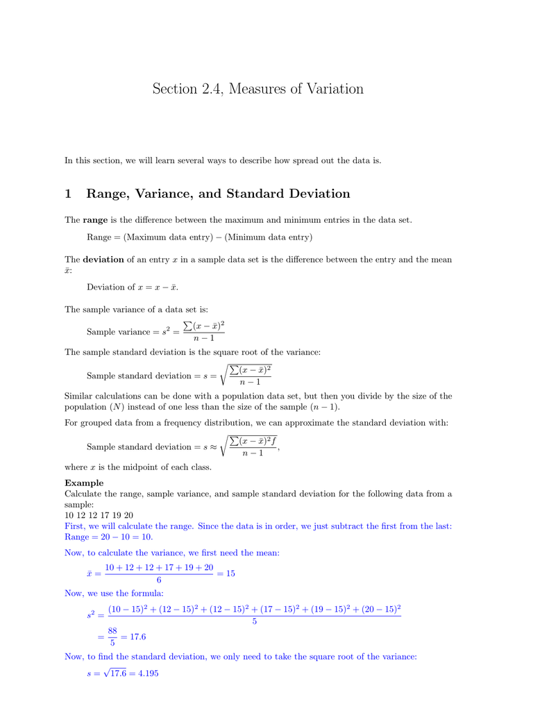 How To Find Range Variance And Standard Deviation Solution For