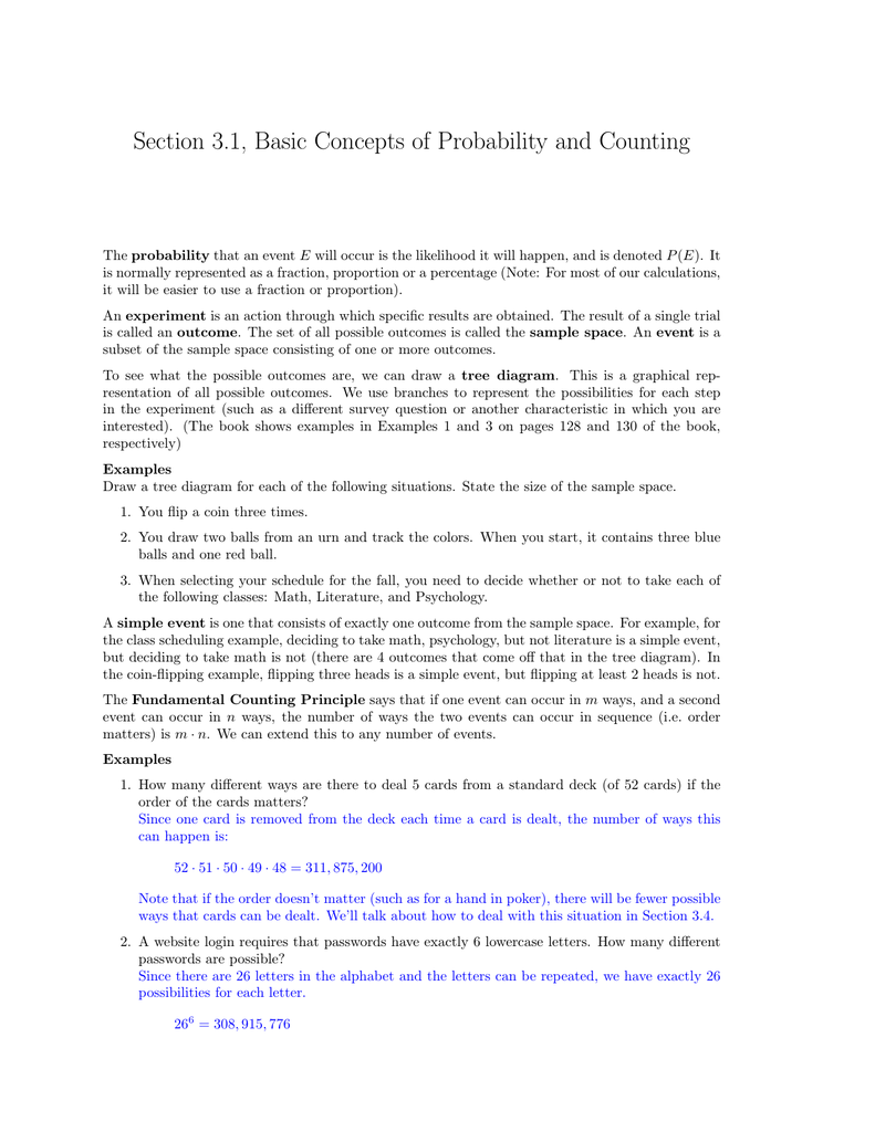 Section  Basic Concepts Of Probability And Counting