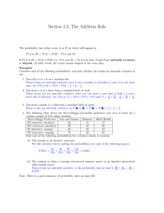 Section 3.3, The Addition Rule