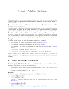 Section 4.1, Probability Distributions