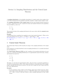 Section 5.4, Sampling Distributions and the Central Limit Theorem