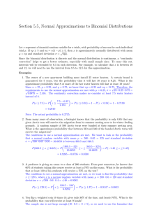 Section 5.5, Normal Approximations to Binomial Distributions