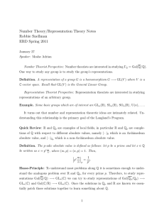 Number Theory/Representation Theory Notes Robbie Snellman ERD Spring 2011