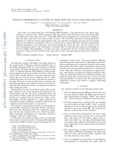 VELOCITY DISPERSIONS IN A CLUSTER OF STARS: HOW FAST COULD... ABSTRACT Since that very memorable day at the Beijing 2008 Olympics,...