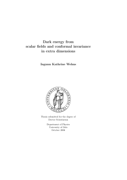 Dark energy from scalar fields and conformal invariance in extra dimensions