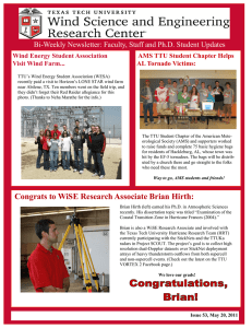 Bi-Weekly Newsletter: Faculty, Staff and Ph.D. Student Updates Visit Wind Farm...