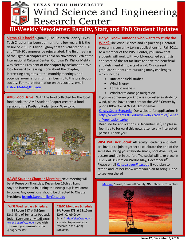 dd92ad60cd71fd BiWeekly Newsletter  Faculty, Staff, and PhD Student Updates Sigma Xi is  back! Do you know someone who wants to study the ATMO Mondays Schedule