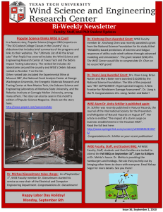 Bi­Weekly Newsletter  ATMO Mondays Schedule:  Popular Science thinks WISE is Cool!  Faculty, Staff, and PhD Student Updates